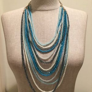 Blue, White, Navy, & Turquoise w/ Gold Necklace